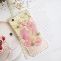 The peony pressed flower bumper phone case (ピンクの牡丹押し花電話ケース)