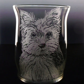 Yorkie puppy votive candle holder, clear glass hand engraved , gift ideas, Mother's day yorkshire