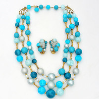 Vintage Necklace Earrings Set Aqua Blue Multi Strand Beads Rockabilly Fashion