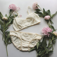 Natural Organic Cotton Bridal Lingerie Bra and Panties Set with Chevron Lace Appliqué Handmade to Order by Ohh Lulu