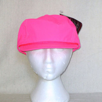 Vintage Deadstock 80s NEON FLUORESCENT Pink Surf Beach Skate Blank Hip Summer Adjustable HAT
