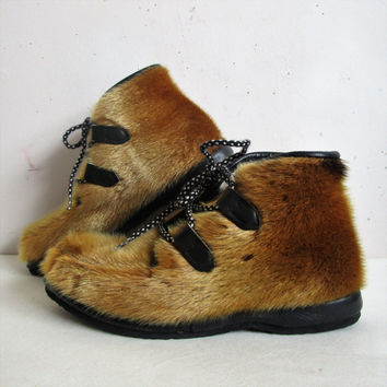 Vintage 60s Apres Ski Booties Labrador Elk Brown Fur Ski Resort Chic 1960s Winter Boots 6