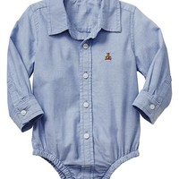 Gap Baby Factory Oxford Button Up Bodysuit