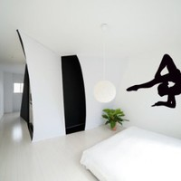 Housewares Wall Vinyl Decal Gymnast Girl Pose Yoga Sport People Fitness Gym Interior Home Art Decor Kids Nursery Removable Stylish Sticker Mural Unique Design for Any Room