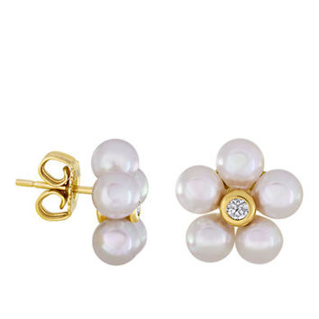 Majorica 18Kt Gold and Pearl Floral Stud Earrings