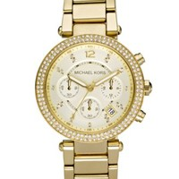 Michael Kors Women's Chronograph Parker Gold Ion Plated Stainless Steel Bracelet Watch 39mm MK5354 | macys.com