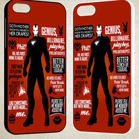 Iron Man Quote Collage F0007 iPhone 4S 5S 5C 6 6Plus, iPod 4 5, LG G2 G3, Sony Z2 Case
