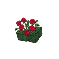 ID #6186 Red Roses Nursery Pots Flower Love Iron On Embroidered Patch Applique