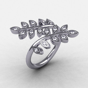 14K White Gold Diamond Leaf and Vine Wedding Ring, Engagement Ring NN112-14KWGD