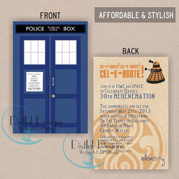 Doctor Who Birthday Invitation TARDIS ,or 50th Anniversary Invitation - Printable 4x6 CUSTOMIZE the WORDING