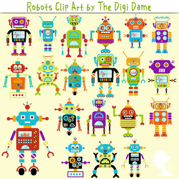 Digital Scrapbooking Elements/Clip Art: INSTANT DOWNLOAD Cartoon Robots in Blue, Green, Yellow, Orange, Red & Purple