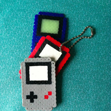 Any Gameboy: Pick Your Color Perler Bead Magnet or Keychain
