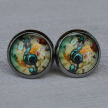 Boho Music Note Stud Earrings, Hippie Chic Rocker Posts, 10mm Round Earrings, Colorful Tapestry Earrings, Small Music Note Earrings, Silver