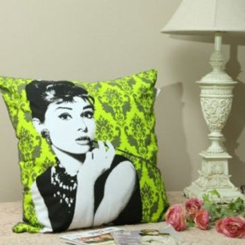 2PCS Linen cotton pillow cover Audrey Hepburn green & pink