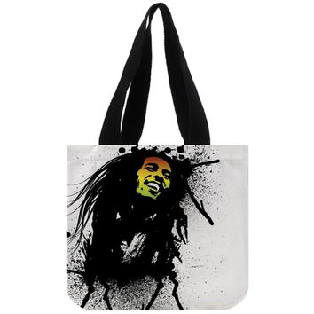 Custom Bob Marley print canvas tote bag customized eco bags custom made shopping bags with logo