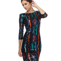 Sexy Sequin Dress - Multicolored Dress - Black Dress - Sparkle Dress - $71.00