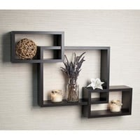 Danya B Intersecting Espresso Wall Shelf