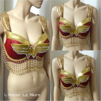 Gold Beaded Wonder Woman Bra