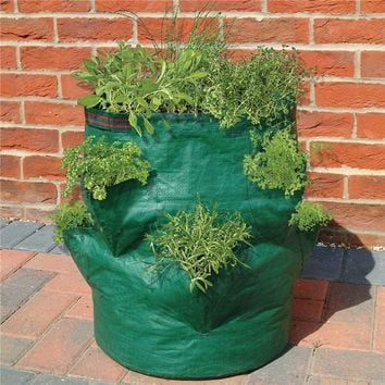 Strawberry Planter Bag 8 Pockets Grow Bags PE Plastic Planting Bag Large Capacity Garden Gardening Planting Bags Flower Pot