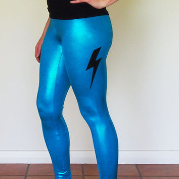 Shiny Turquoise Metallic Leggings with Lightning Bolts - in stock, shipped today