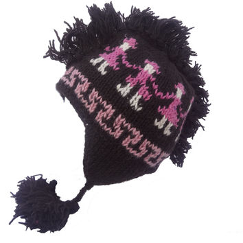 Wool fleece lined fringe skiing sherpa winter hat