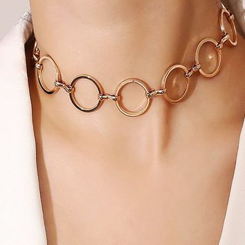 Round and Round Metal Open Circle Choker Necklace - 2 Colors Ava 7328d5dbf019