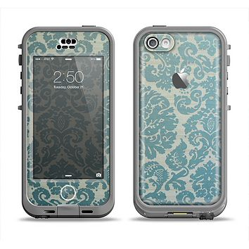 The Subtle Green Lace Pattern Apple iPhone 5c LifeProof Nuud Case Skin Set