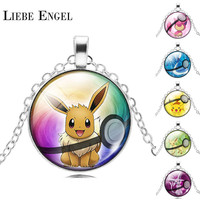 NEW Pokemon Eevee Necklace Pokeball Glass Cabochon Statement Chain Pendant Necklace Women Fine Jewelry Gift 2016