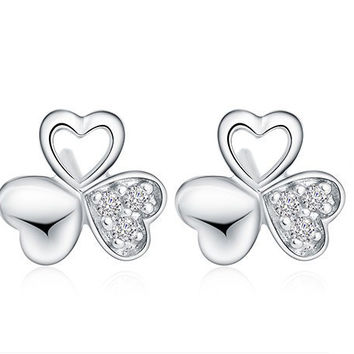 AAA Genuine Sterling Silver Jewelry Fashion Wild Clover Earrings Silver 925 Stud Earrings Top Quality!! Free Shipping