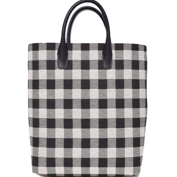 Mansur Gavriel Checker North South Tote Bag - Black/White Detachable Adjustable Shoulder Strap Tote Bag