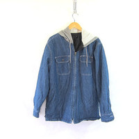 vintage insulated denim jean jacket coat / hooded coat / size M