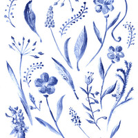 INDIGO FLOWERS - illustration - Home Decor - Office - Interior - free shipping
