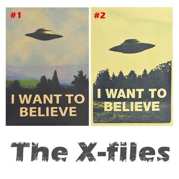 Bar Wall Decor Retro Kraft Paper Posters Movie The X-files I Want To Believe Poster