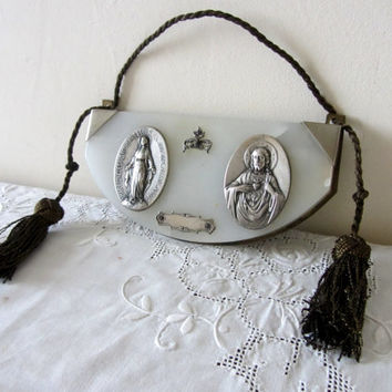Antique Marble Or Alabaster And Silver Religious Plaque 1830