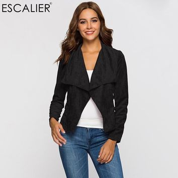 Trendy Escalier Fashion Women Coats Summer Faux Leather Suede Open Stitch Outerwear Party Casual Jacket Small Suit Style Design AT_94_13