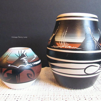 Vintage Native American Pottery, Artist Signed, Lot of 2, Handmade Southwest Cermics, Hand Painted, Vintage Pottery