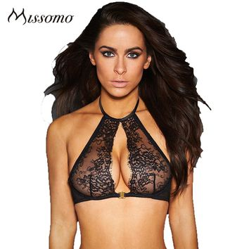 Missomo Women Semi Sheer Lace Crochet Halter Bralette Solid Black Hook And Eye Lingerie Sexy Push Up Comfortable Female Bra