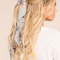 In Paris Grey Floral Scarf Ponytail Hair Tie