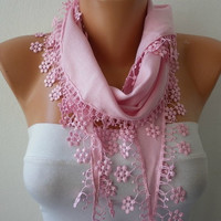ON SALE - Pink Scarf -  Pashmina Scarf  -  Cowl with Lace Edge - Bridesmaid Gift - fatwoman