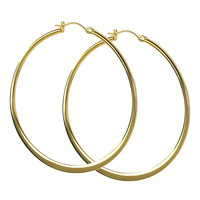Jody Coyote Large Hoop Earrings in Gold Tone Stainless Steel from the Sol Collection