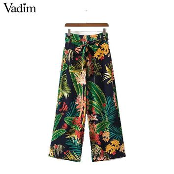 vintage tropical floral leaf wide leg pants bow tie loose retro pattern pockets casual trousers