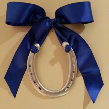 hanging horseshoe, royal blue satin ribbon, Custom Gift Tag-Housewarming Gift, equestrian decor, horseshoe decor, horse shoe art