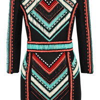 Balmain - Embellished basketweave mini dress