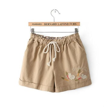 Rabbit Embroidery Slim Casual Pants Shorts [6034462145]