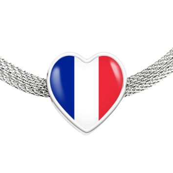 French Pride - Luxury Heart Charm Bracelet
