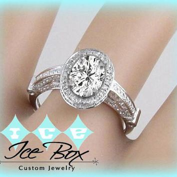 Oval Moissanite Engagement Ring 5 x 7mm 1ct Round in a 14K White Gold Diamond Halo Setting