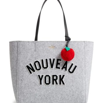 kate spade new york nouveau york - hallie flannel tote & apple pom bag charm | Nordstrom