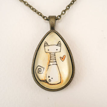 Cat Necklace Original Watercolor Painting Glass by cellsdividing