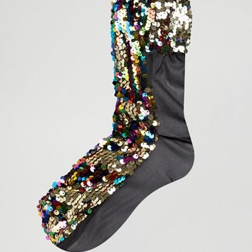 ASOS Multi Sequin Socks at asos.com