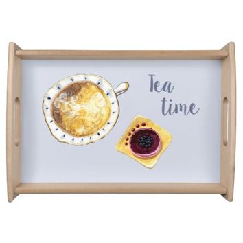 Tea Time Illustration Serving Tray